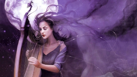 Song for a lost soul - frumusete, luminos, halloween, superb, spirit, instrument, fantasy, moon, girl, purple, ghost, harp, night, gorgeous