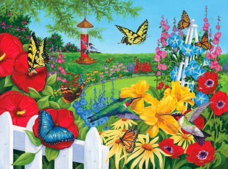 This is butterfly country - butterflies, bright, yellow, flowers, puzzle, jigsaw
