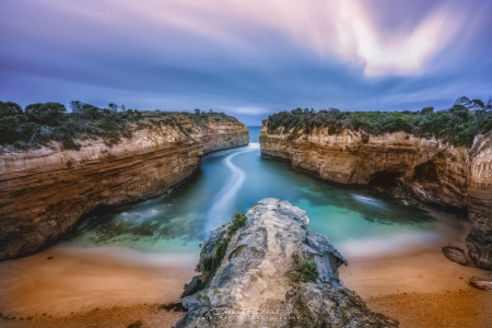 Along the Great Ocean Road, Australia - water, sky, cliffs, sea, clouds