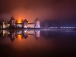 Foggy Night on Castle, Trakai Island, Lithuania