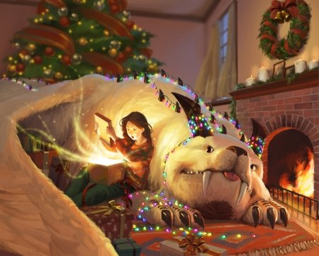 The gift - fantasy, kk zhang, girl, craciun, caine, gift, dog, giant, christmas, luminos