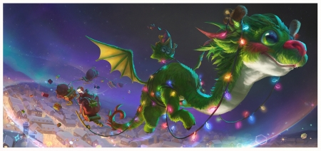 Christmas dragon - fantasy, luminos, craciun, green, soyoung kim, dragon, lights, blue, christmas
