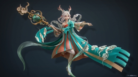 Yao deer goddess - be you, green, girl, goddess, beyou, horns, deer, yao, luminos, fantasy