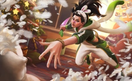 Pajama Akali - ears, bunny, white, pajama akali, kk zhang, christmas, craciun, fantasy, tree, girl, green