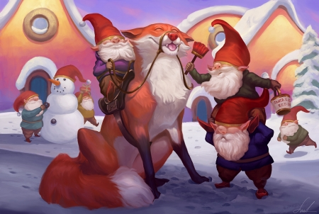 Gnometastic - juno viinikka, dwarf, red, art, craciun, christmas, luminos, elf, gnome, iarna, winter, fantasy, fox