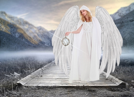 Angel in white - wings, white, woman, mountains