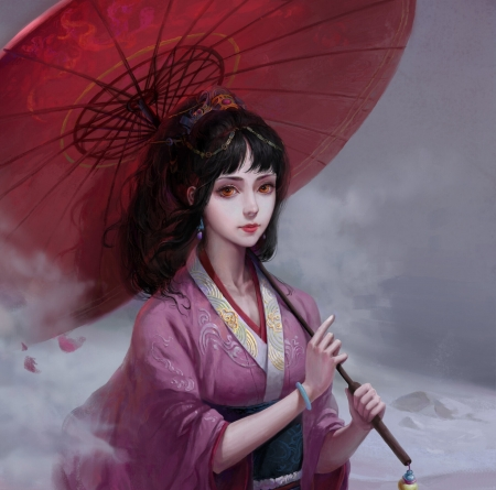 Girl with parasol - dark, umbrella, asian, parasol, art, red, frumusete, kl chen, luminos, kimono, fantasy, pink