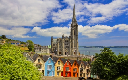 Cathedral in Ireland - clouds, church, houses, cathedral, Ireland, sea