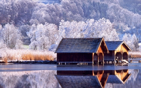 Beautiful Winter Scenery - boathouses, snow, reflections, lake, ice