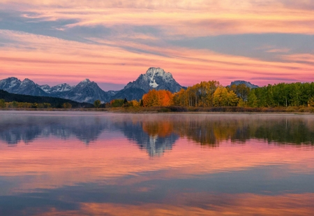Fall Colors at Oxbow Bend, Grand Teton National Park - mountains, wyoming, autumn, usa, sunset, clouds, sky