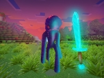 Angry Nightcrawler Under Purple Sky in Realmcraft Free Minecraft Clone