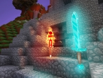 Skeleton on Fire, Diamond Sword in Realmcraft Free Minecraft StyleGame