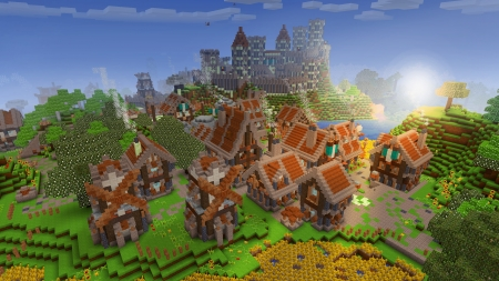 Adorable Village & Villagers in RealmCraft Free Minecraft Style Game - open world game, gaming, playgames, realmcraft, pixel games, mobile games, sandbox, free minecraft, games, free, action, game, minecrafters, pixel art, art, 3d building games, fun, pixel, adventure, building, 3d, minecraft