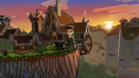 Village in Mountains, Sunset in Free Minecraft RealmCraft - Pretty 3D Pixel Game - open world game, gaming, playgames, realmcraft, pixel games, mobile games, sandbox, free minecraft, games, free, action, game, minecrafters, pixel art, art, 3d building games, fun, pixel, adventure, building, 3d, minecraft