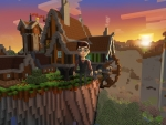 Village in Mountains, Sunset in Free Minecraft RealmCraft - Pretty 3D Pixel Game