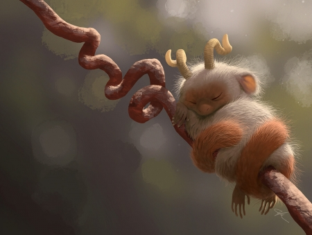 Nap time - fantasy, mini, sleep, brown, bobby chiu, creature, horns, art, luminos, cute