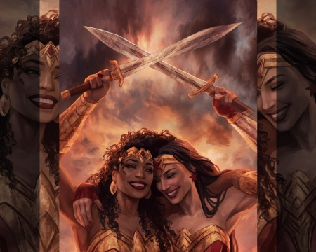 Nu'bia and Diana - wonder woman, fantasy, amazon, sisters, jasric, nubia, diana, couple, sword