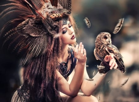 :) - owl, bufnita, model, bird, girl, feather, pasari, horns