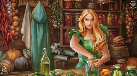 Restocking for the winter - autumn, fantasy, girl, green, luminos, toamna, kitchen, olga tokareva