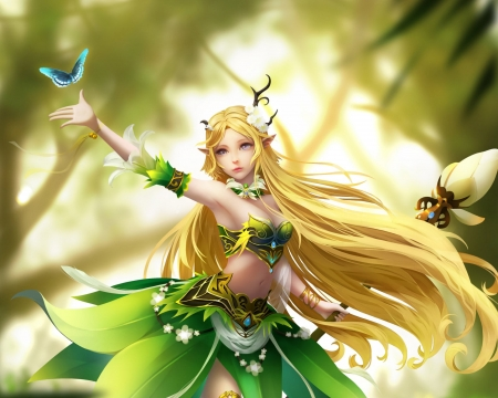 Fantasy girl - caohua, fantasy, luminos, green, girl, blonde, yellow