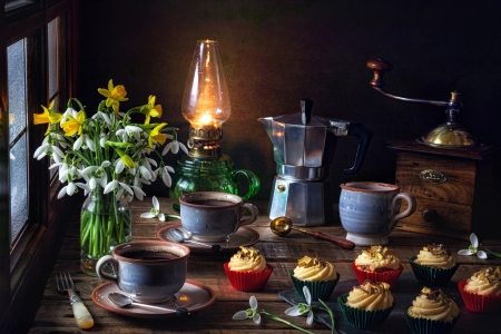 Still life - Coffee, Pot, Cupcakes, Style, Flowers, Lamp