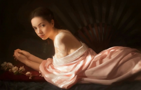 Odalisque - fantasy, luminos, yingkang dan, girl, dark, pink, yingkang fan, art, odalisque, concubine