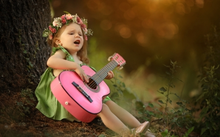 Little Girl - Play, Girl, Guitar, Wreath