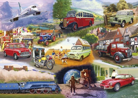 Iconic engines - train, bus, cars, aircraft, tractor, painting, motorcycle