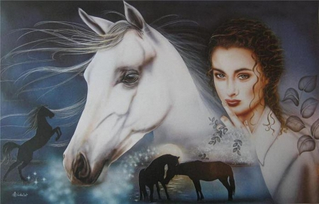 My white Horse - paint, woman, horse, animal