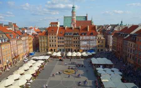 Marketplace in Warsaw, Poland - Poland, marketplace, houses, Warsaw