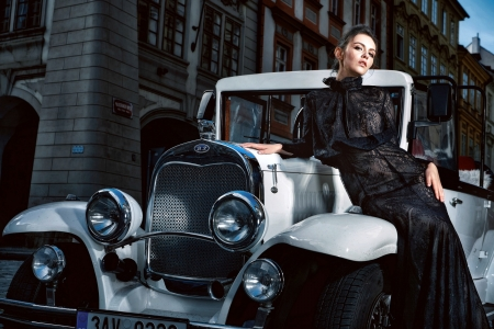 Classy Lady with a Classic Car - brunette, dress, model, car