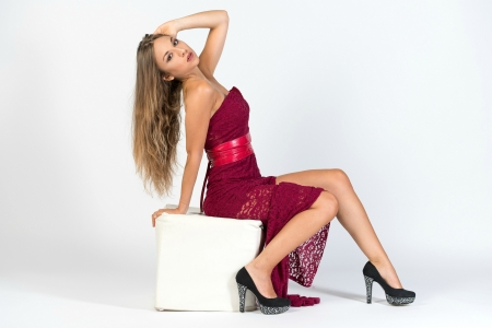 Pretty Anna in a Red Dress - blonde, high heels, dress, model