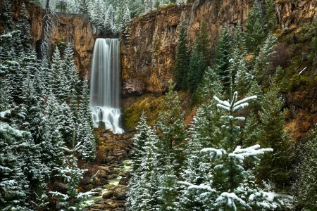 First Snow on Tumalo Falls, Oregon - waterfall, nature, trees, usa, snow