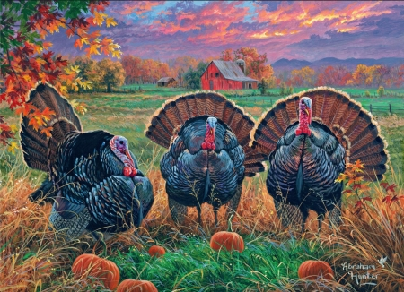 Thanksgiving Turkeys - sunset, trees, field, barn, fall, poultry, colors, artwork, ns, painting, pumpkins