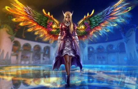 Fantasy Angel - wings, girl, castle, art, digital, colors