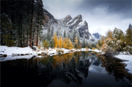 Early snow storm at Yosemite National Park, with fall colors - mountains, fall, usa, california, colors, river, trees, reflections