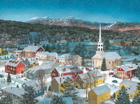 Christmas Eve - buildings, painting, village, pictura, winter, view from the top, art, craciun, christmas, church, city