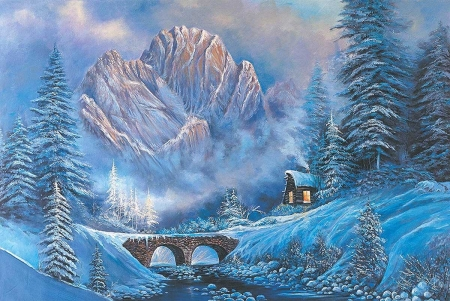 Winter - mountain, art, cottage, painting, pictura, blue, winter, iarna