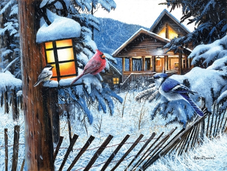 Winter birds - art, lantern, bird, painting, pasari, pictura, winter, iarna