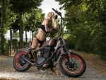 Bikini Model with her Harley Davidson