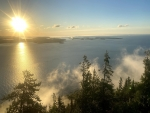 A Lake Superior sunrise, looking out over the Susie Islands and Isle Royale. Grand Portage, MN