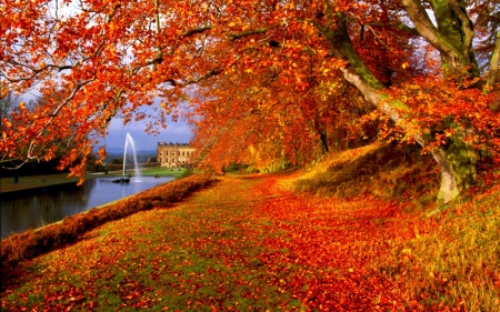 Fall in southern Germany - water, leaves, trees, fountain, path, castle