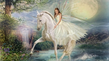 Fairy and unicorn - moon, fantasy, wings, luna, trudi simmonds, girl, unicorn, fairy