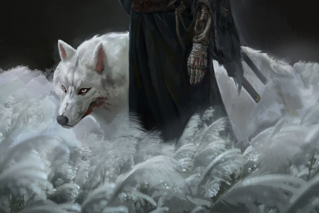The white wolf - fantasy, luminos, lup, yiart, wolf, yi, sekiro, white