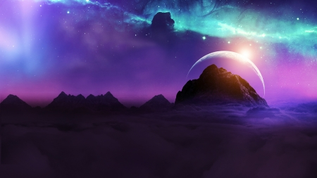 Deep Space - stars, night sky, sun, manipulation, space, sunset, sky, clouds, galaxy, moon, purple, planet, universe, mountains, digital, photoshop
