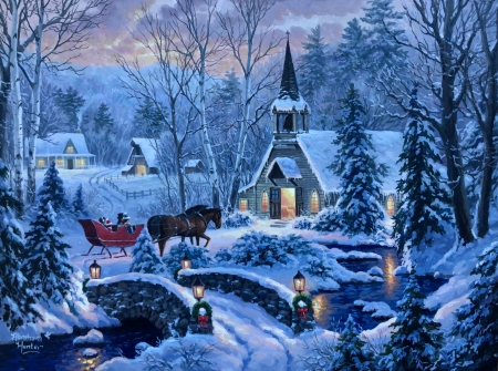 Cozy Evening - sleigh, snow, bridge, village, river, trees, church, horse, winter
