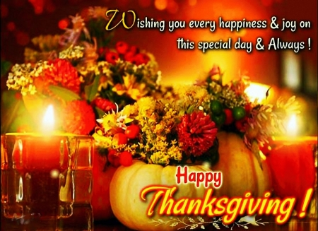 Happy Thanksgiving ! - blossoms, apple, pumpkin, candles, holiday