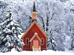 Yosemite Chapel in snow
