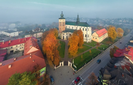 Church in Poland - Poland, aerial, church, town, mist