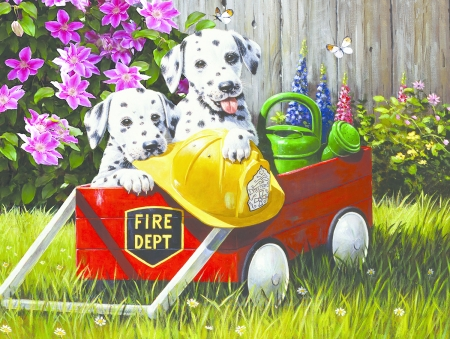 :) - red, art, caine, yellow, cute, vara, green, summer, garden, painting, dalmatian, pictura, dog, puppy
